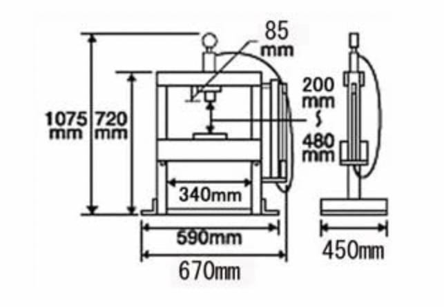 toolsisland(ツールズアイランド) 卓上式油圧プレス 寸法図